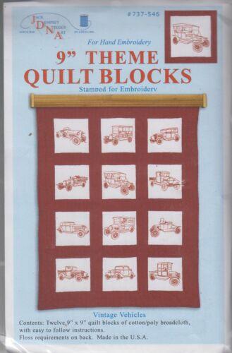 1 Jack Dempsey Vintage Vehicles Stamped Embroidery Quilt Blocks