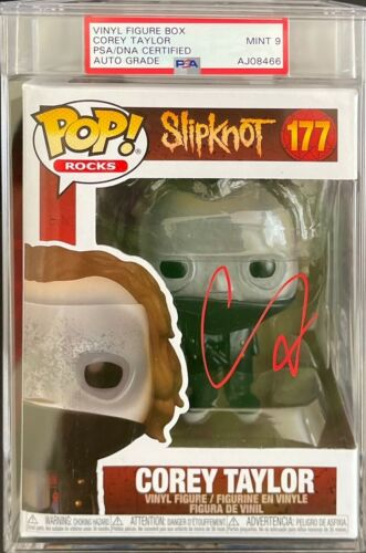 Corey Taylor Signed Slipknot Slabbed Funko Pop #177 PSA AJ08466 Mint 9