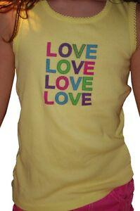 Girls-Yellow-Pink-Love-Sleeveless-Shirt-Top-Tank-Size-12-18-months-2T-4T-5T-NEW