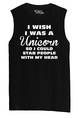 Mens I Wish I Was Unicorn I Could Stab People With My Head Funny Shirt (People With Square Heads)