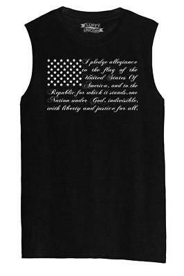 Mens Pledge of Allegiance American Flag Muscle Tank Usa American Pride  (American Flag Tank)