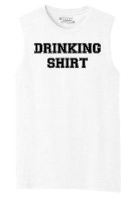 Mens Drinking Shirt Muscle Tank Alcohol Beer Party St