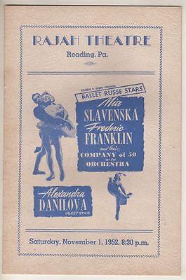 Mia Slavenska & Frederic Franklin Playbill 1952 Alexandra Danilova  Reading, PA