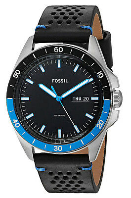 Fossil Sport 54 Day Date Perforated Black Leather Strap Men Watch FS5321 New