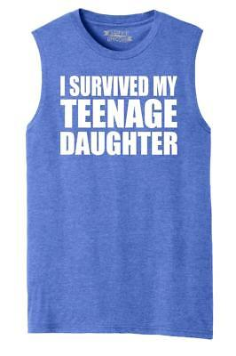 Mens I Survived My Teenage Daughter Cute Mom & Dad Gift Funny Shirt Muscle Tank](Muscle Teen)