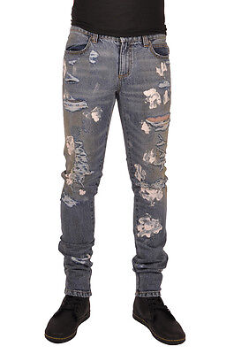 TRIPP GOTHIC PUNK ROCKER DISTRESSED RIPPED PAINT SPLATTERED JEANS PANTS AG852M Clothing, Shoes & Accessories