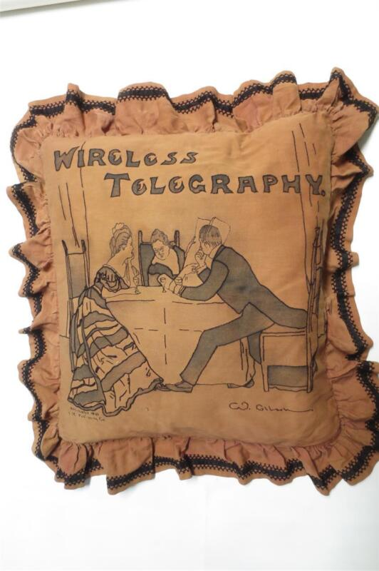 ANTIQUE C.W.Gibson Girl Wireless Telegraphy Embroidery HUGE Elaborate Pillow