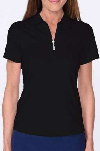Golftini Short Sleeve Zip Tech Polo - Black SHZT17RBK