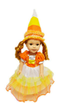Candy Corn Themed Witch Costume for Wellie Wisher Dolls - Corn Costume For Kids