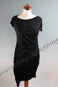 La-Redoute-New-With-Tags-Black-Drape-style-Ruched-Dress-Tunic