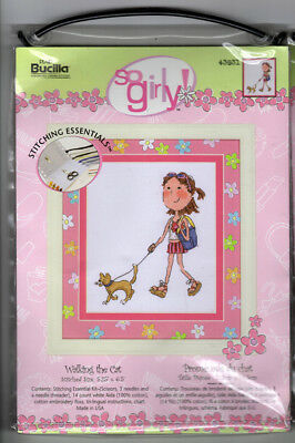 Bucilla Counted Cross Stitch Kit So Girly Walking the Cat DIY Cute Craft Girl (Girly Diy)