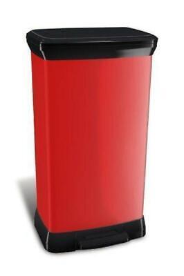 Curver 187180 Home Rubbish Dustbin Trash Pedal Bin Metalized Red 50L |1036