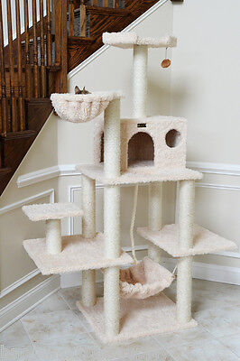 "69"" Armarkat Cat Tree Condo Bed Perch Play House Scratching Post Beige A6901"