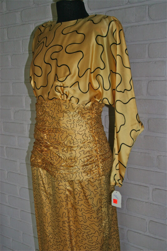 NWT Never Worn Silk Yellow/Black Dress with Waist Ruching Flatters your Figure