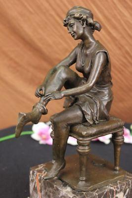 Vintage Victorian Maiden Garden Flowers Bronze Marble Statue Sculpture Art Deco  (Maiden Garden Statue)