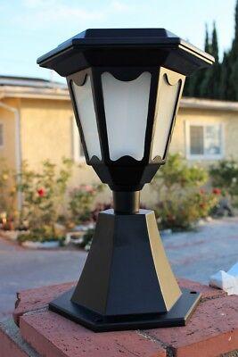 Solar Die Cast Aluminum Hexagon Light w/ Wall Mount or Fence Post Cap (Fence Post Base)