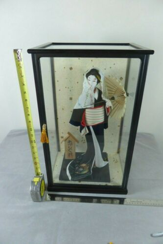 "16"" Japanese Doll w/Silk Kimono and umbrella Antique"