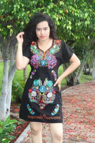 Handmade Womens Embroidered Mexican Dress - Sizes Medium & Large - Fiesta Dress