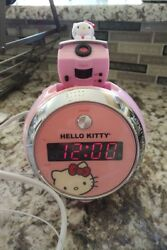 HELLO KITTY DIGITAL ALARM CLOCK WITH PROJECTION AM/FM RADIO 2271WH01 PINK