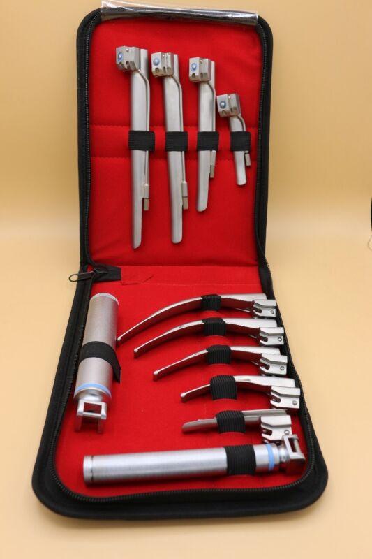 Laryngoscope Mac + Miller Set of 9 BLADES & 2 HANDLES EMT Anesthesia Intubation