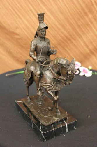 Bronze Sculpture Soldier Medieval Knight Armor Riding Horse Souvenirs Statue Art - $299.00