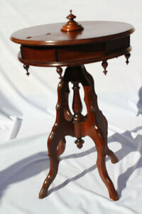 Antique-Rare-Victorian-Round-Sewing-Jewelry-Table-with-Hidden-Compartment-c-19th