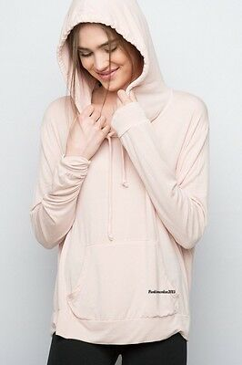 Last Onet  Brandy Melville Pink Long Sleeve Cotton Robin Hoodie Top Nwt Os