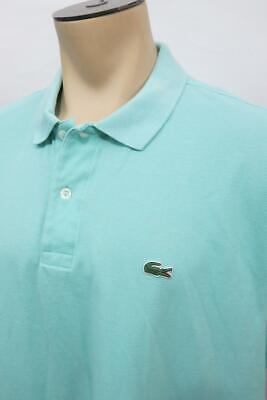 Lacoste Solid Blue Short Sleeve Polo Shirt FR 9 Men's 4XL