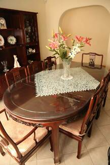 9 Piece Chinese Rosewood Extendable Dining Table Set