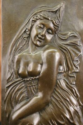 Bronze Bas Relief (Fine Rare French Bas Relief Art Nouveau Bronze Sculpture Statue Figurine)