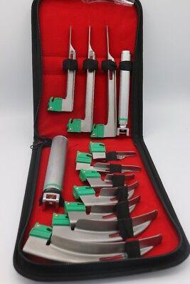 Set Of 10 Fiber Optic Mac Miller Laryngoscope Blade2 Handle Intubaton