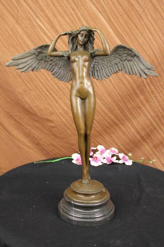 """Bronze Sculpture 21"""" Tall Descending Night By German Sculptor, Adolph A. Weinman"""
