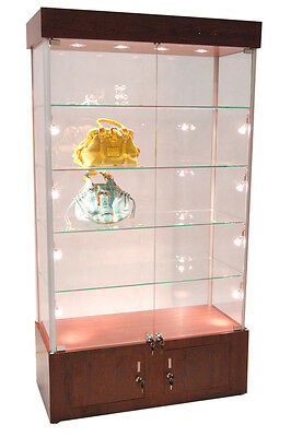 Premium Assembled Cherry Wall Glass Display Case Showcase Light Lock Ny Pickup