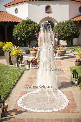 WEDDING VEIL MANTILLA FOR SPANISH CATHOLIC WEDDING WITH BEADED LACE IN IVORY