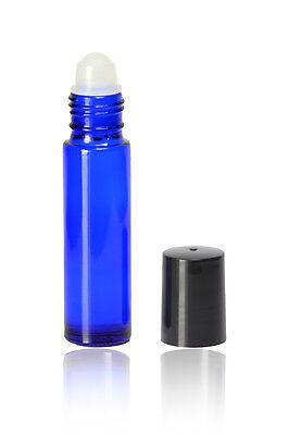 Cobalt Blue 1/3 oz 10ml Plain Glass Roll on With Caps & Roller Cobalt Blue Plain