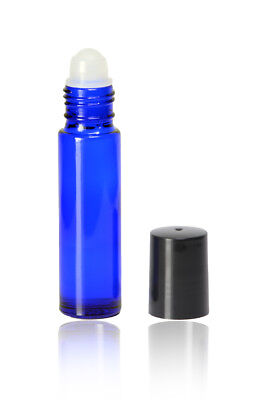 10 Ml Cobalt Blue Roll On Glass Bottles Wroller And Black Caps 144 Pcs