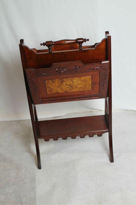Antique American Eastlake Magazine Music Stand with Inlaid Circa 19th