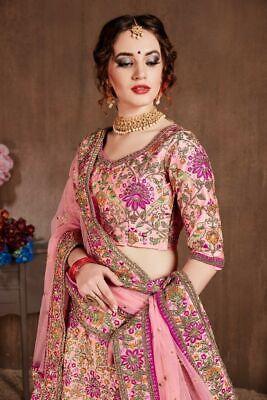 Mejor Rosa Lehenga Choli Boda India Parrotdesign Lengha Chunri Sari de Diseño