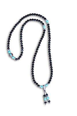 Gebetskette Mala buddhistische Halskette schwarzer Achat Türkis AsienLifeStyle