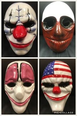 UK FULL SET OF PAYDAY 2 THE HEIST MASKS FANCY DRESS UP HALLOWEEN COSTUME COSPLAY