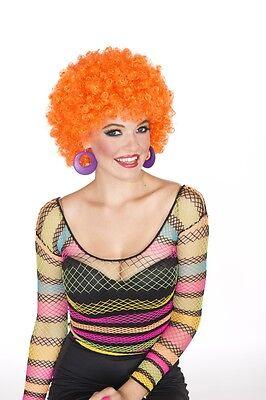 GLITTER AFRO Halloween 70's Disco costume wig - Hot Orange