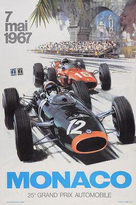 - VINTAGE 1967 MONACO GRAND PRIX AUTO RACING POSTER PRINT 36x24 9 MIL PAPER