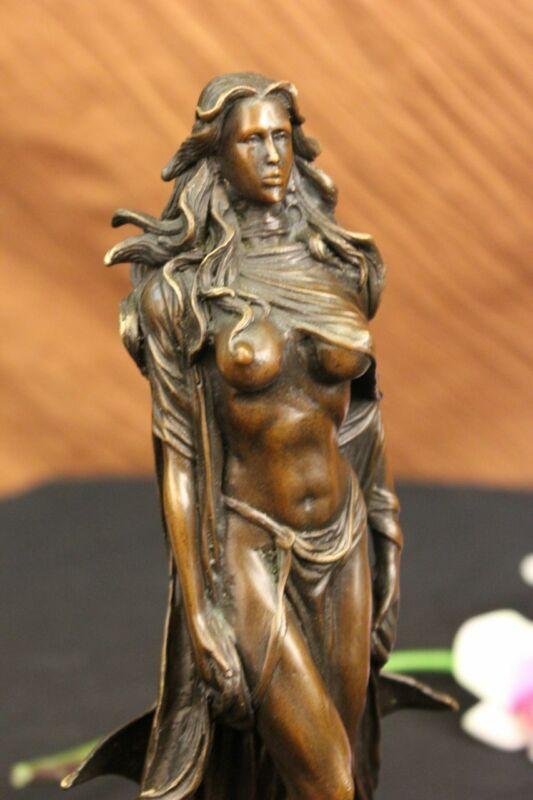 Bronze Statue Sculpture Amazon Female Warrior Semi Nude Figure Decorative DEAL