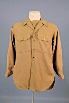 1940s Men's Shirts, Sweaters, Vests Men's 1940s WWII US Army Wool Uniform Shirt 14.5x33  SMALL 40s OD WW2 Vtg $34.99 AT vintagedancer.com