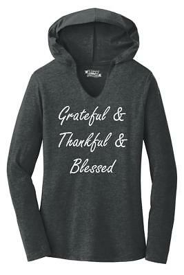 Thankful Grateful Blessed (Ladies Grateful Thankful And Blessed Hoodie Shirt Religious Mom Happy)
