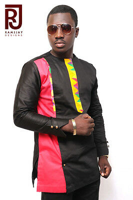 Men's African Fashion Wear Kente Multicoloured Long Sleeve Shirt Men's Clothing