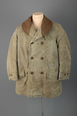 Vtg Men's 1940s WWII US Army Canvas Mackinaw Jeep Coat Large 40s WW2 Jacket