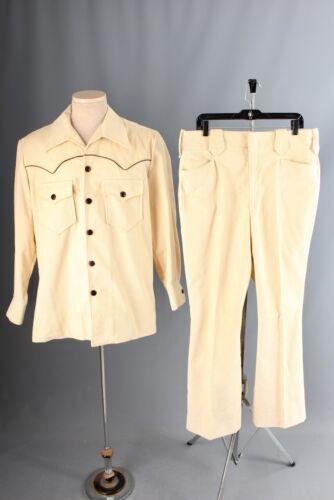 Vtg Mens 1970s Ecru Corduroy Western Leisure Suit Large Pants 36x31 70s