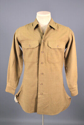 1940s Men's Shirts, Sweaters, Vests Men's 1940s WWII US Army Wool Uniform Shirt 14.5x32  SMALL 40s OD WW2 Vtg $39.99 AT vintagedancer.com
