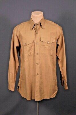 1940s Men's Shirts, Sweaters, Vests Men's 1940s USMC Khaki Cotton Uniform Shirt 15.5x34 Medium 40s WW2 Named $49.99 AT vintagedancer.com